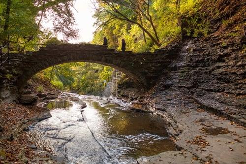 Ithaca gorge and small bridge